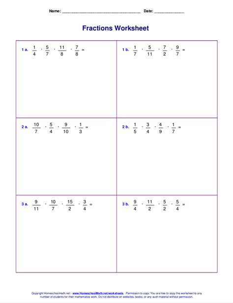 fractions worksheets for grade 6 multiply negative