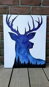 Night sky painting acrylic painting deer art by TheMindBlossom