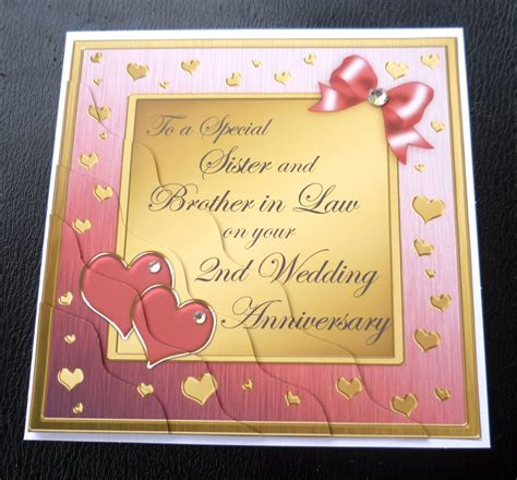 sister brother  law  wedding anniversary card  colours