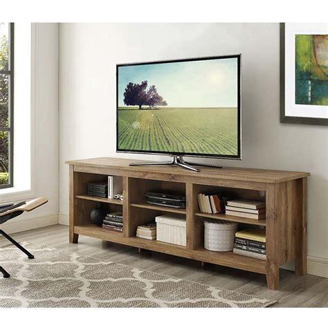 walker edison essentials   tv stand barnwood wcspbw