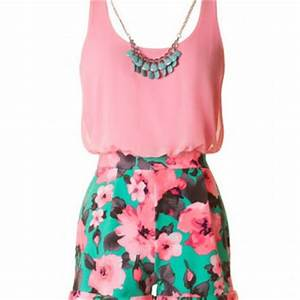 Neon Floral Romper with Necklace Pink from Blue Chic