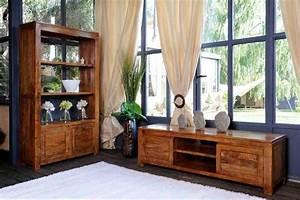 Meubles De Salon En Bois : meuble t l bois exotique acacia 3 tiroirs guntur 3511 ~ Teatrodelosmanantiales.com Idées de Décoration