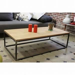Pied De Table Basse Metal Industriel : table basse industrielle m tal bois ch ne baazic ~ Teatrodelosmanantiales.com Idées de Décoration