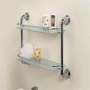 Chrome 2 Tier Glass Wall Mounted Bath Bathroom Shelves ...
