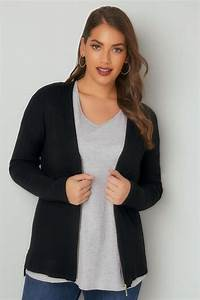 Black Cardigan With Zip Front  Plus Size 16 To 36