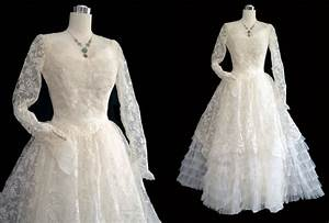 Vintage 50s wedding dress 1950s wedding gown lace tulle for Retro 50 s wedding dresses