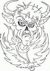 Devil Coloring Pages Halloween Horned Fiery Z31 Finished Costume sketch template