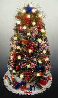 decorated patriotic tabletop mini tree white
