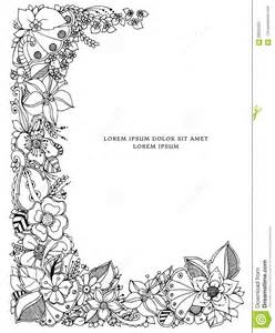 vector illustration of floral frame zentangle doodling zenart doodle flowers butterflies
