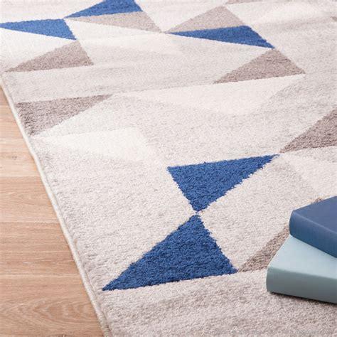 tapis  polypro poils courts motifs losanges gris