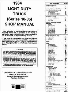 1984 Gmc Truck Repair Shop Manual Original Pickup Jimmy