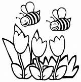 Bee Coloring Bumble Pages Spring Bees Printable Bumblebee Flower Honey Flowers Happy Clipart Tulips Flying Couple Cute Clip Sheet Beehive sketch template
