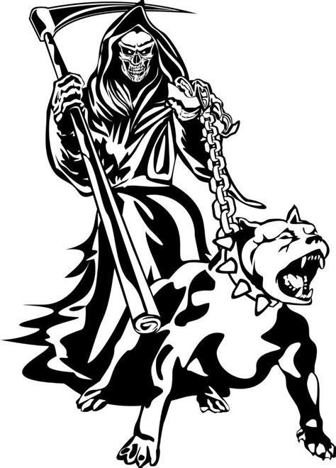 Details about Grim Reaper Dog Chain Scythe Creature Monster Window Laptop Vinyl Decal Sticker