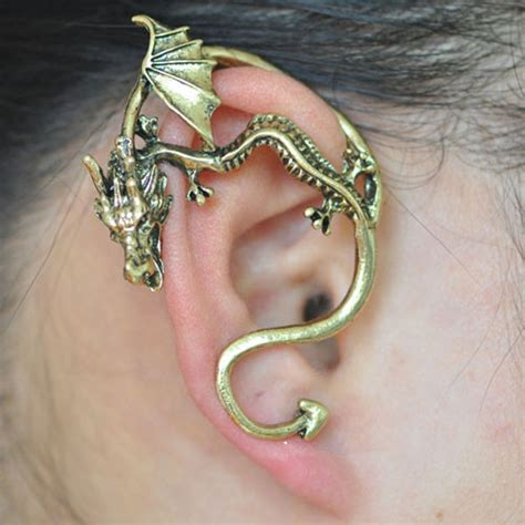 game  thrones dragon ear cuff curved tail gold
