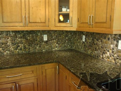 rock backsplash kitchen river pebble tile kitchen backsplash a diy project 1974