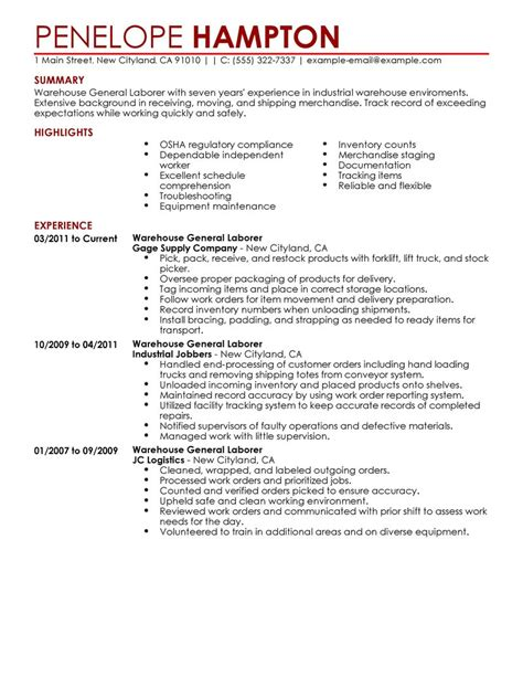 best general labor resume exle livecareer