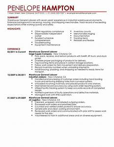 best general labor resume example livecareer With general resume template