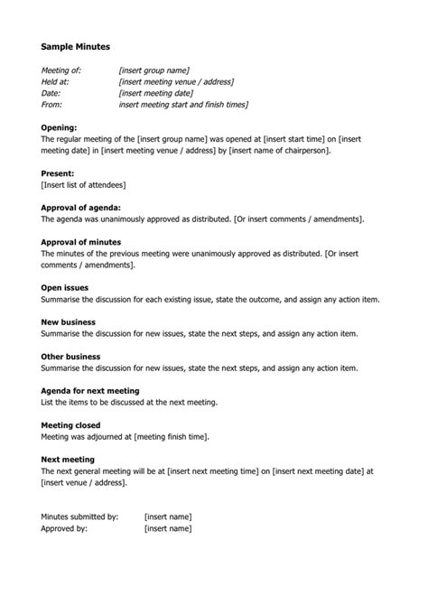 meeting minutes template   documents