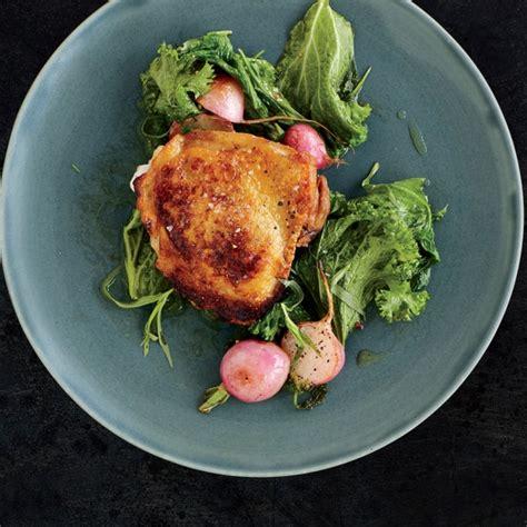 vinegar marinated chicken  buttered greens