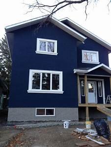 house dark blue stucco exterior white trim - Google Search ...