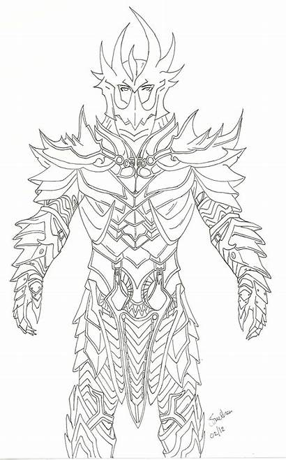 Skyrim Armor Dragon Coloring Drawing Deadric Pages