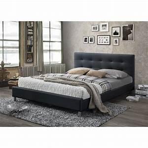 Photo Tete De Lit : lit noir avec t te de lit capitonn e 160 eva 3 suisses ~ Dallasstarsshop.com Idées de Décoration