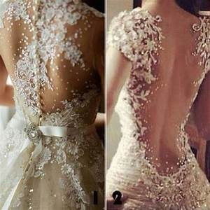 dress white open back prom dress clothes wedding With lace sparkle wedding dress