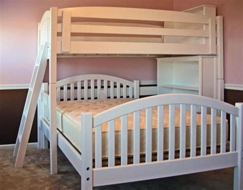 mission style l shades twin over full l shape bunk bed with bookcase arched