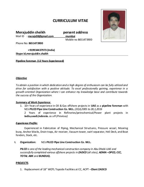 Piping Construction Supervisor Resume by Pipeline Foreman