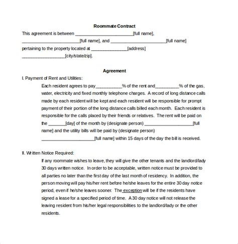 roommate contract template roommate agreement template 11 free word pdf document free premium templates