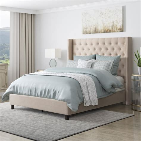 26474 beige tufted bed corliving fairfield beige tufted fabric single bed