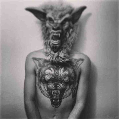 magnificent wolf tattoos  chest
