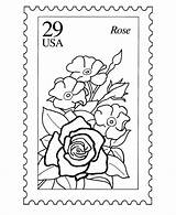 Stamp Coloring Pages Postage Stamps Nature Sheets Usps Printable Books Activity Postal Template Collecting Mail Zoom Rose Flowers Philately Getcolorings sketch template