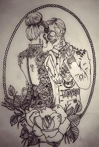 art, bun, couple, drawing - image #645926 on Favim.com