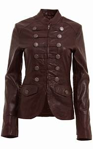 WOMENS BROWN MILITARY STYLE LEATHER BLAZER JACKET on Luulla