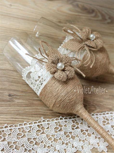 rustic lace burlap toasting flutes champagne burlap