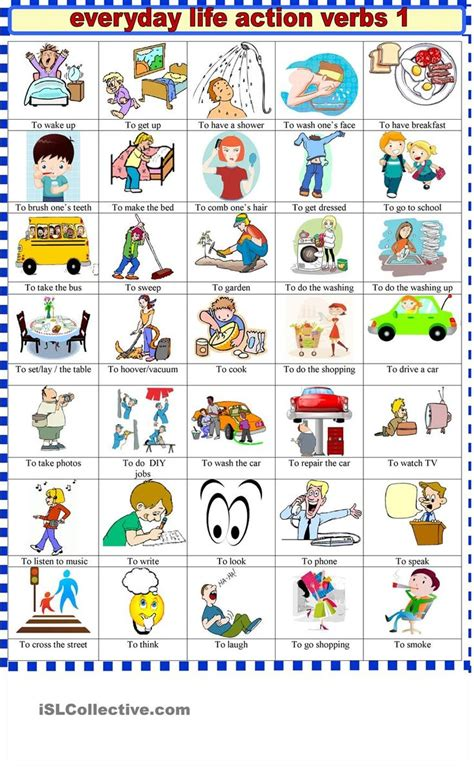 everyday life action verbs   images action verbs