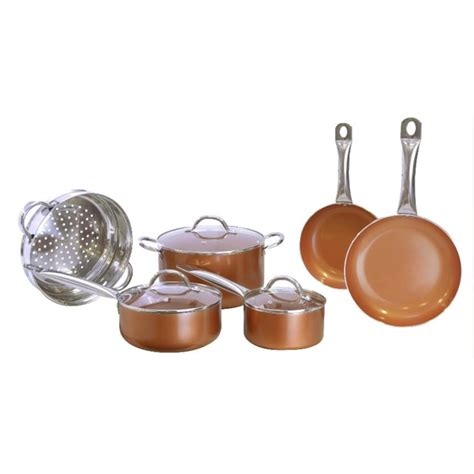 piece copper luxury cookware pan set giftland works