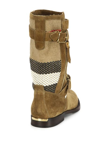 brown moto boots burberry grantsone suede canvas check moto boots in