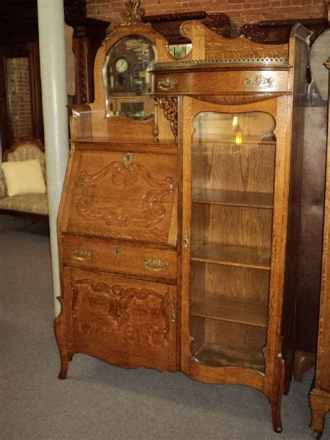 Antique Bookcase Desk Combo by Oak Side By Side Bookcase Combo Circa