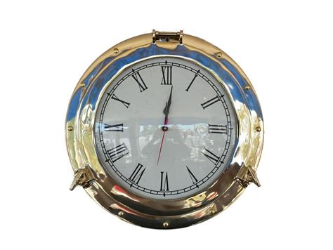 "Wholesale Brass Deluxe Class Porthole Clock 15"" Model Ship"
