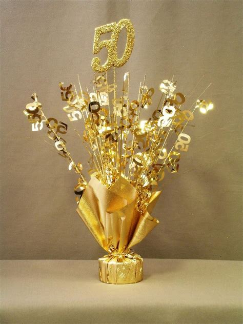 gold 50 table centerpiece mom and dad anniversary 50th