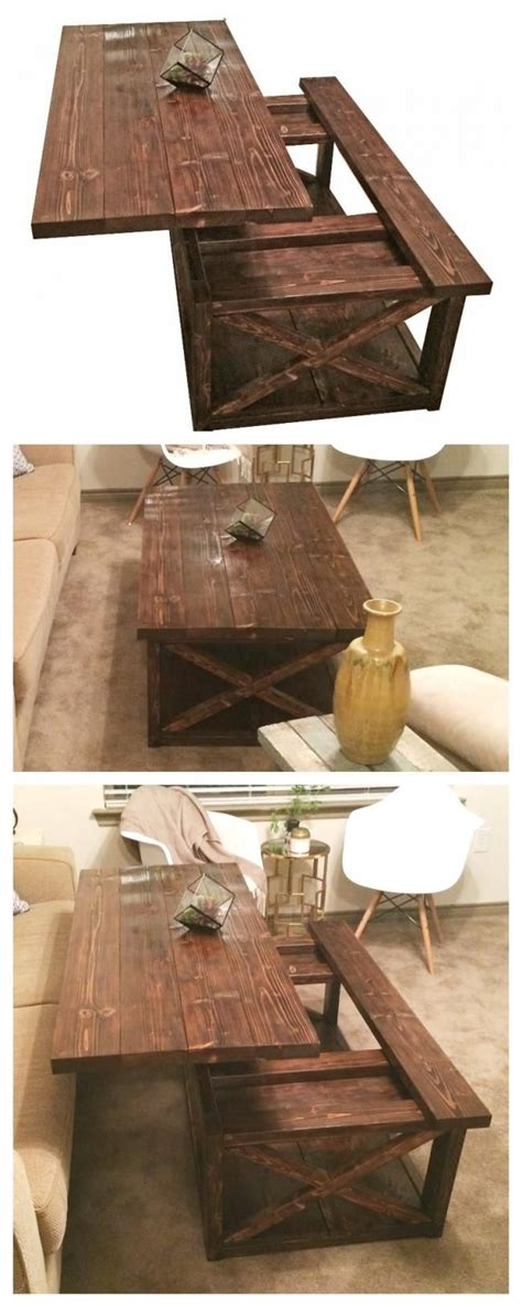 diy lift top coffee table rustic  style