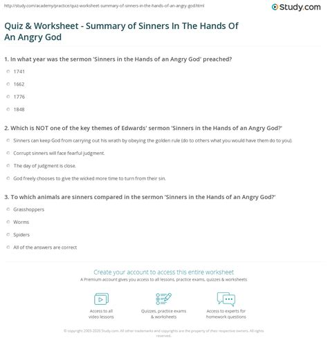 quiz worksheet summary  sinners   hands