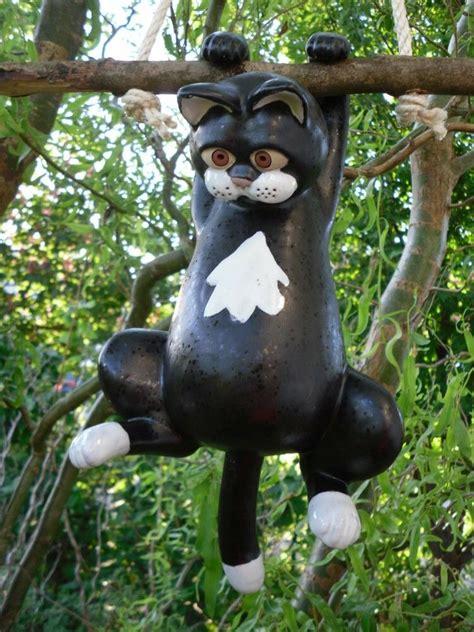 Gartendeko Hängend by Katze Keramik Schwarz H 228 Ngend Frostsicher Gartendeko Ebay