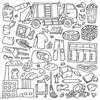 Doodle Garbage Vector Illustration Coloring Pollution Bottle