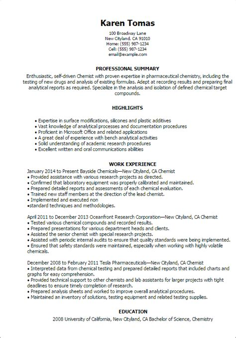 Chemistry Resume Format by Chemist Resume 21 Analytical Chemist Resume Sles Uxhandy