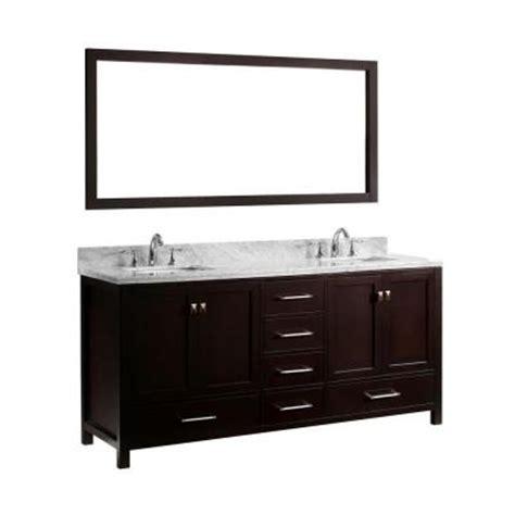 virtu usa 72 6 8 in double square sink vanity in espresso