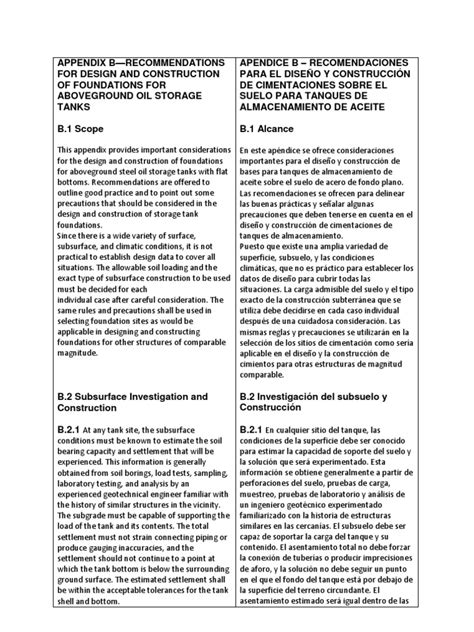 Traducción Apéndice B API 650 | Fundación (Ingeniería