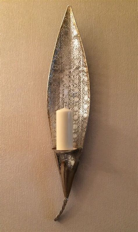 silver candle wall sconces vintage moroccan silver gold large leaf pillar candle